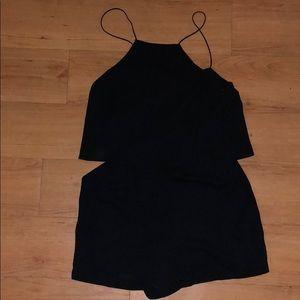 Silk black formal romper with high neck